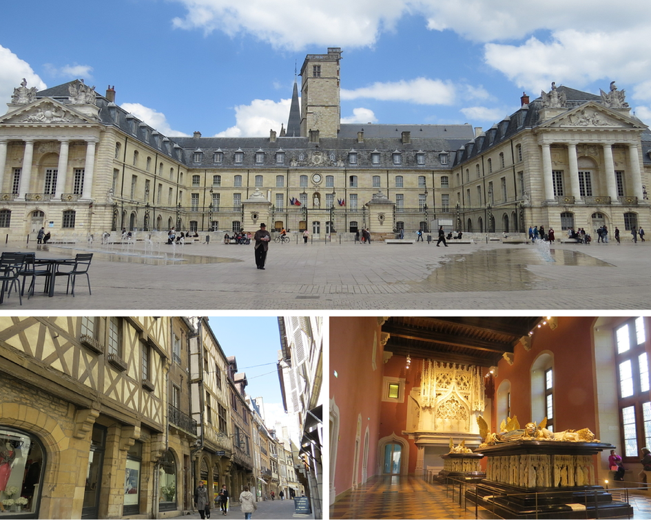 Place de la Libération, rue verrerie et le musée des Beaux-Arts.